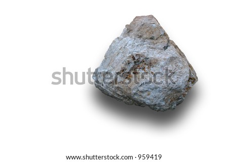 A light colored rock. Isolated.