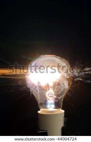 A light globe exploding