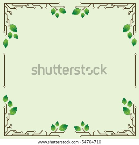 a light green background frame with birch leaves and electronic circuits