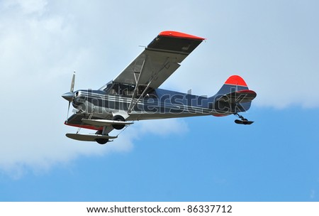 a light high wing airplane, ideal for reconnaissance because of the increased visibility. Equipped with a constant velocity propellar for greater efficiency and skis for landing on snow - stock photo