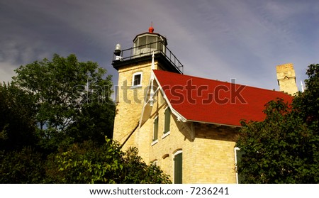 A light house located in Door County on Lake Michigan