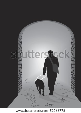 a light in the darkness - man guide by a guide dog