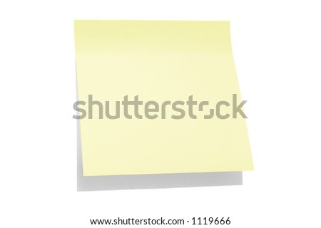 A light yellow post-it note isolated on white background - stock photo