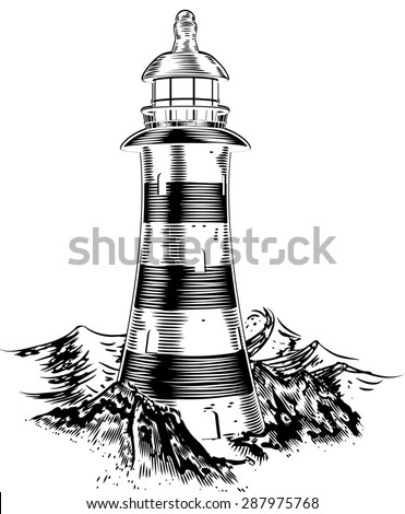 A lighthouse on top of a rocky coast with a lot of big waves