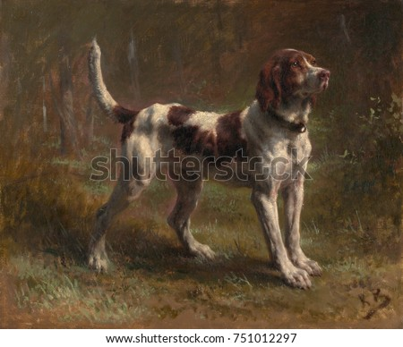 A LIMIER BRIQUET HOUND, by Rosa Bonheur, 1856, French painting, oil on canvas. This was a portrait of the dog of the Vicomte dArmaille. Bonheur was a master of animal paintings and the most renown Eur