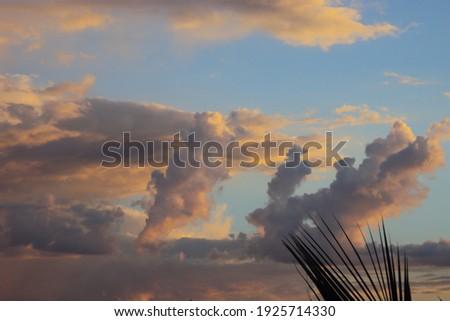 A linda paisagem mostra a luz do sol refletindo as nuvens em uma bela profusão de cores. O nascer do sol ou o por do sol transforma o horizonte em uma verdadeira obra de arte. Foto stock ©