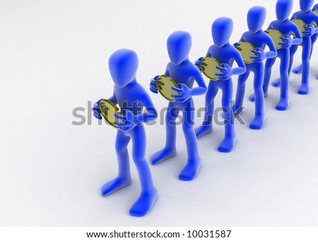 A line of blue 3d figures, each holding a coin with both hands