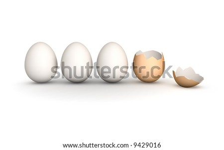 a line of 4 eggs. 3 perfect white hen's eggs and a brown broken egg