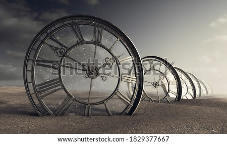 A line of half buried antique clocks with a glass backing in a sandy desert landscape - 3D render Foto stock ©