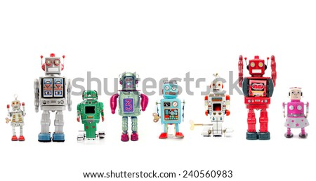a line of retro robots