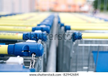 A line of shopping carts