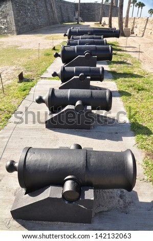 A lineup of canons providing defense for St Augustine and the fort - Castillo de San Marcos in Florida