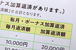 A list of Japan's debts. Translation: There is an additional repayment. Total amount. Monthly and bonus additive repayment. Monthly repayment amount. Bonus repayment amount. Japanese Yen.