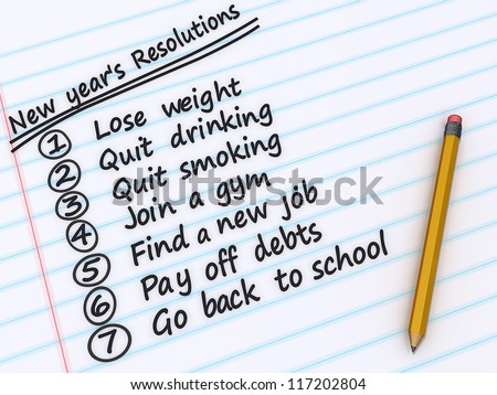 A list of New years resolutions on a sheet of paper.