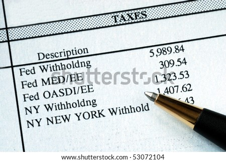 A list of withholding taxes from the pay stuff