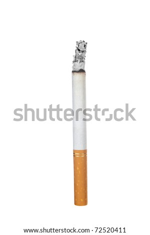 A lit cigarette on a white background for use as a smoking inference.