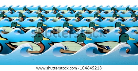 A literal depiction of carnival shooting alley wooden mallard ducks all in uniform rows in between blue wooden wave cutouts