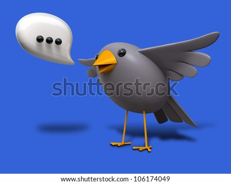 A literal depiction of the saying A little bird told me with a grey bird speaking out a speech bubble