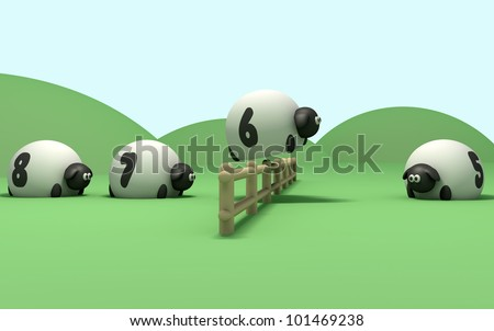 A literal description of the term counting sheep with sheep jumping over a fence in numerical sequence