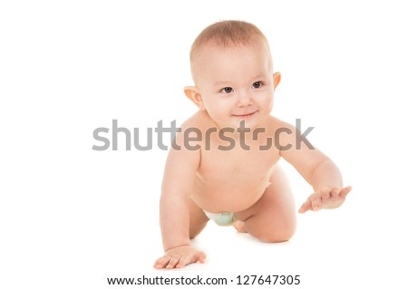 A little baby crawling on the floor isolated on white background