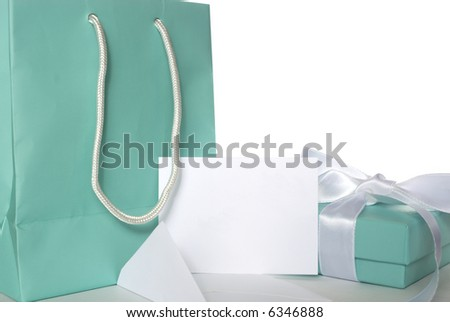 A little blue bag with matching gift and blank white gift card for your message.