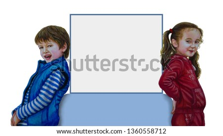 A little boy and a little girl are standing on both sides of the panel.