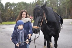 A little boy holds a black horse by the reins. The communication of the child with the animal. The woman smiles and looks after the boy. Walk with your child in the Park in autumn.