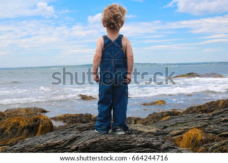 A little boy is looking out at the large ocean, standing on rocks. It's a big world and the child's future has endless possibilities. Courage, future, inspiration, goals, conquer your fear, aspiration #664244716