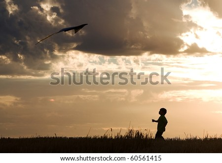 A little boy makes a successful kite flight.