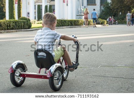 A little boy riding a tricycle on a road in the park.