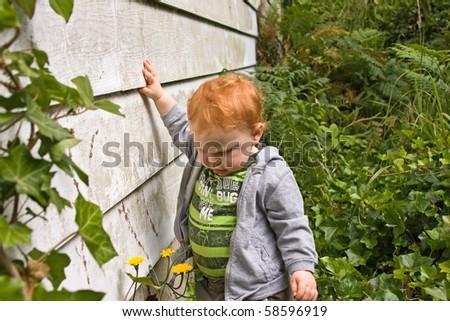 A little boy walking along a house through ivy.