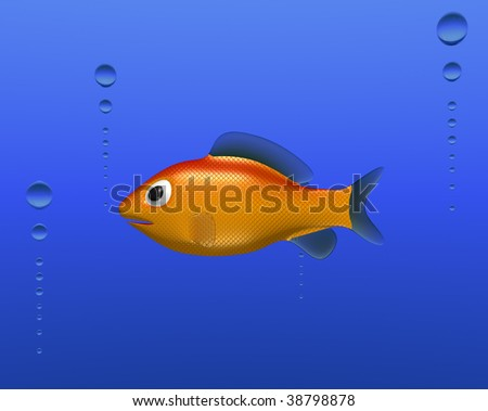 goldfish cartoon image. A little cartoon gold fish