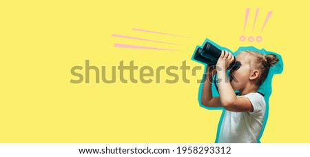 A little charismatic girl looks into binoculars. Collage in magazine style. Flyer with trendy colors, copyspace for ad. Discount, sale, season sales. Modern design, creative artwork