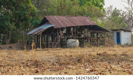 A little cottage in the countryside in the dry countryside of Thailand #1424760347