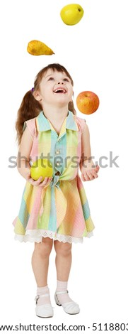 A little funny girl juggles fruit on white background