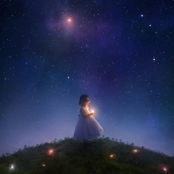 A little girl catches stars falling from the sky