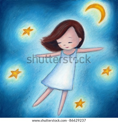 a little girl flying among the stars in a dream