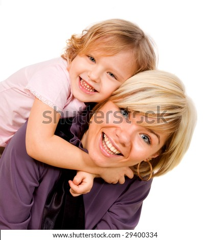 a little girl hugging a mother on a white background
