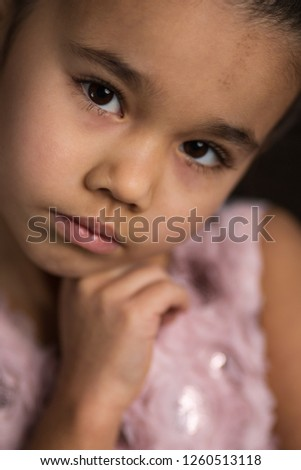 41fff15c9f69 Angry little girl in pink isolated on a white background Images and ...