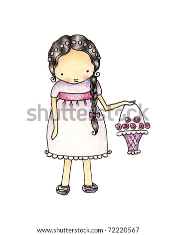 a little girl in a purple dress with a basket of flowers white background