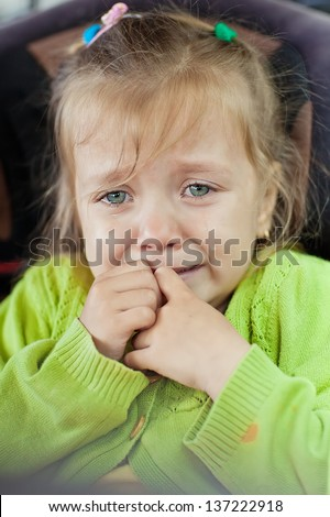 A little girl is crying