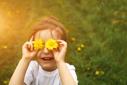 A little girl of European appearance with light hair puts yellow dandelion flowers to her eyes and enjoys the summer, sun and warmth, laughing with her mouth open. Hello summer, place for text