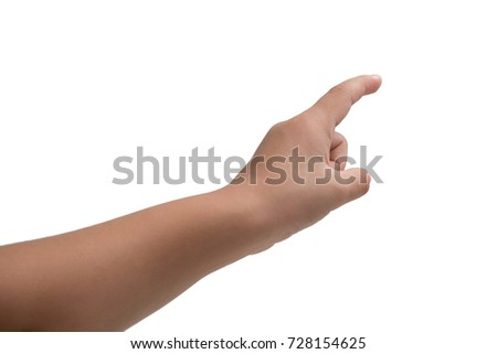 A little girl's hand touches the virtual screen. Touch screen gesture. Isolated on white. #728154625
