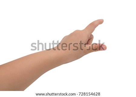 A little girl's hand touches the virtual screen. Touch screen gesture. Isolated on white. #728154628