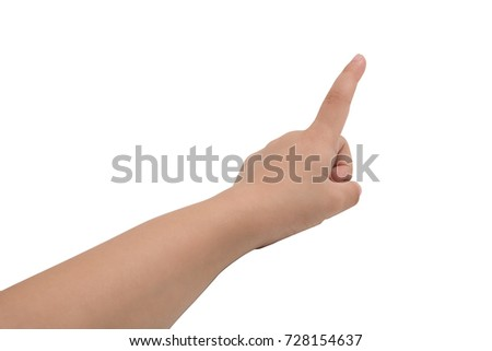 A little girl's hand touches the virtual screen. Touch screen gesture. Isolated on white. #728154637