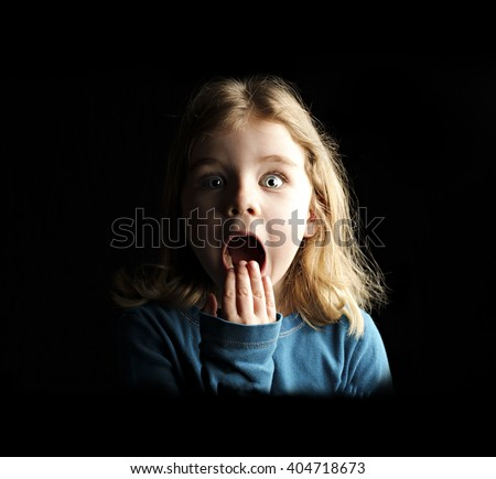 A little girl scared and shocked #404718673