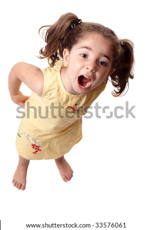 A little girl standing and shouting