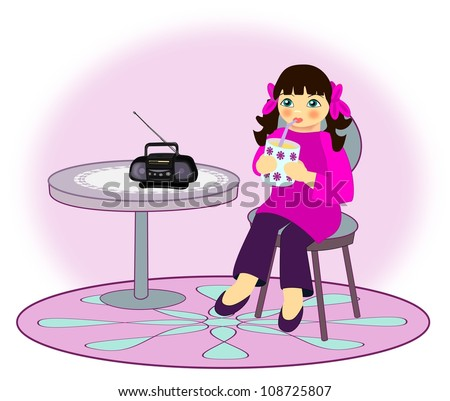 A little girl who sits and drinks from a cup while she is listening the radio.