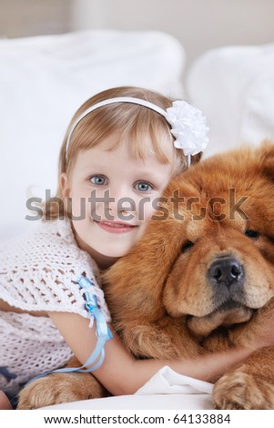A little girl with the big dog