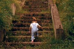 A little girl, 2 years old, with a ponytail and in a jumpsuit, climbing up the steps of the old stone, overgrown grass stairs. Concept of overcome. Cottagecore aesthetics concept.